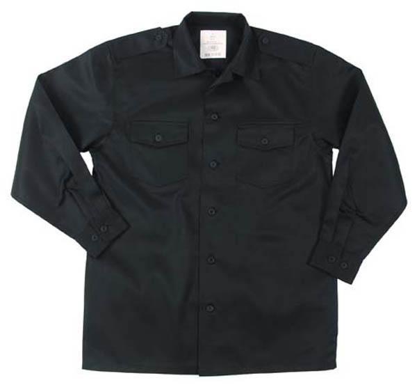 US Hemd, langarm, schwarz