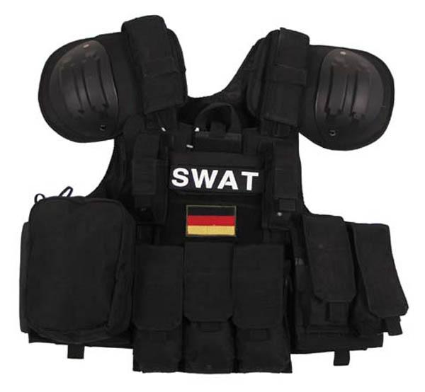 Weste, Combat, div. Taschen, schwarz, größenverstellbar, QR