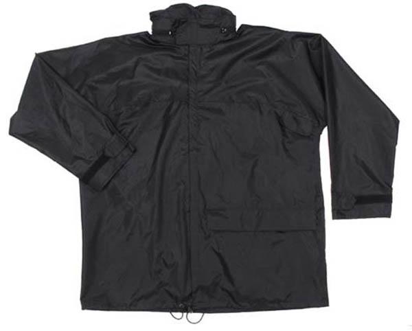 Regenjacke, Polyester mit PVC, schwarz