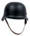 Stahlhelm WW II, schwarz, mit Leder-Innenteil