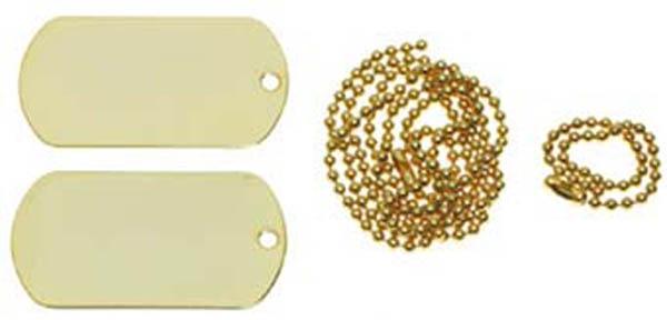 US Erkennungsmarken mit Ketten, gold
