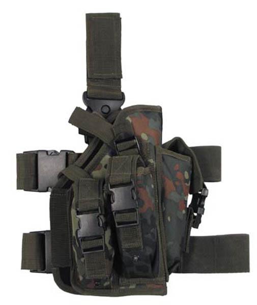 Pistolenbeinholster,flecktarn, Bein- und Gürtelbefestigung