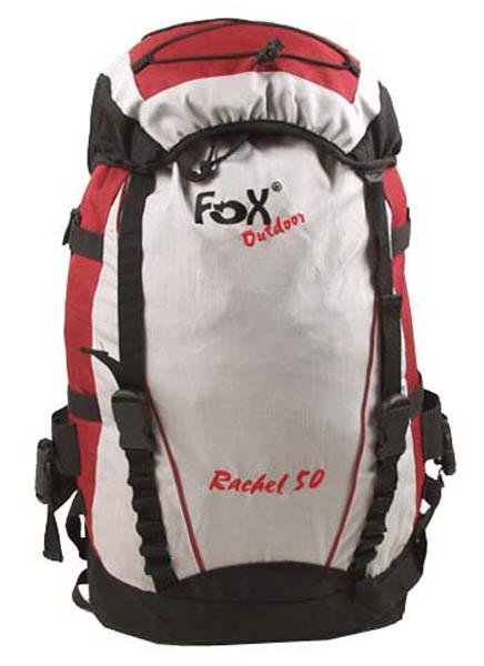 Rucksack, -FOX Rachel 50-, rot-grau