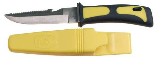 Tauchermesser, Beinholster gelb-schwarz