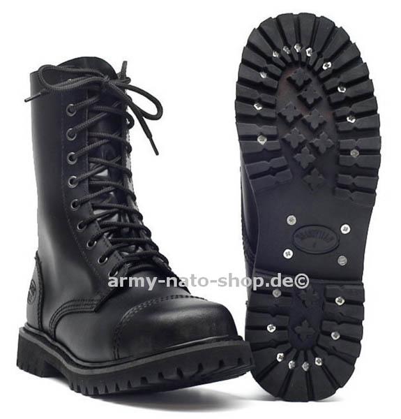 knightsbridge boots 10 loch mit stahlkappe schwarz neu. Black Bedroom Furniture Sets. Home Design Ideas