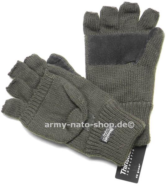 Strickfäustlinge + Handschuhe o. Finger,mit Lederbesatz, oliv neu