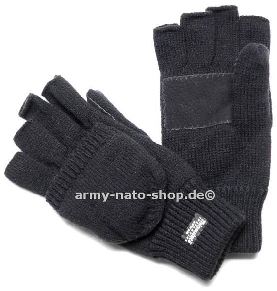 Strickfäustlinge + Handschuhe o. Finger,mit Lederbesatz, schwarz neu