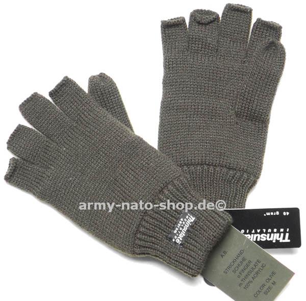 Strickhandschuhe ohne Finger,Thinsulate oliv neu