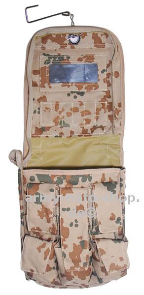 Waschzeugtasche mit Spiegel,3-Farben tropentarn neu