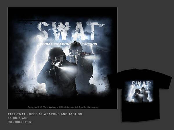 T-Shirt MILpicture, schwarz, bedruckt, T109