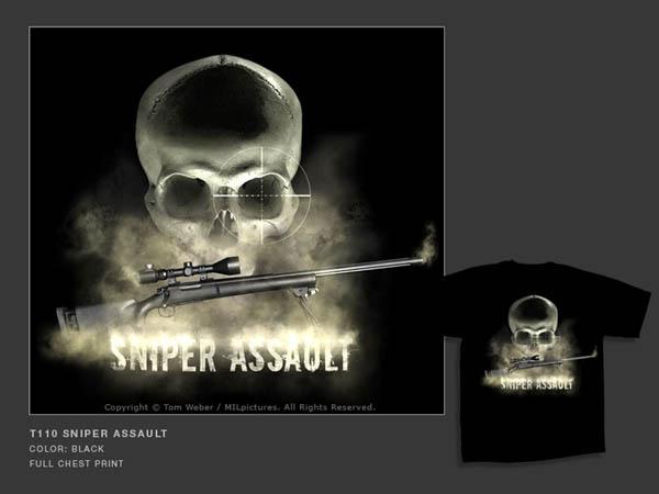 T-Shirt MILpictures, schwarz, bedruckt, T110