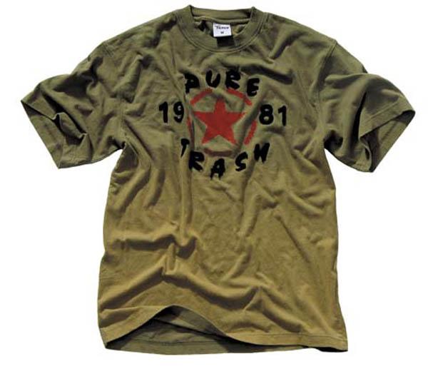 T-Shirt, halbarm, Vintage, Pure Trash, oliv