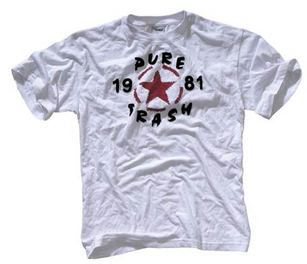 T-Shirt, halbarm, Vintage, Pure Trash, weiß