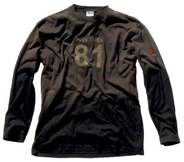 T-Shirt,langarm, Vintage, Pure Trash, schwarz