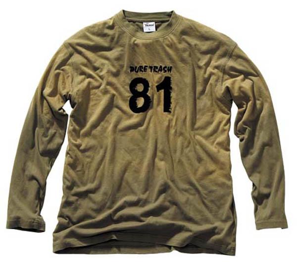 T-Shirt,langarm, Vintage, Pure Trash, oliv