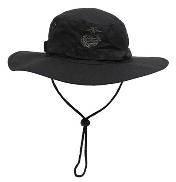USMC Buschhut, Kinnband, schwarz, Boonie, Rip Stop