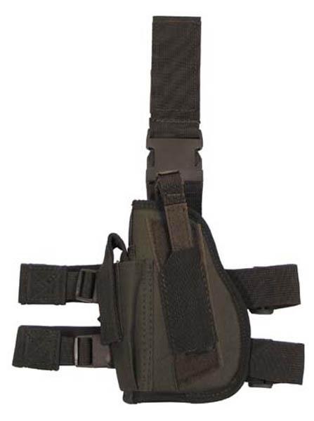 Pistolenbeinholster, oliv, Bein- und Gürtelbef., links