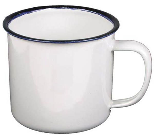 Email-Tasse, weiß-blau, 0,3 l, Durchmesser 8 cm