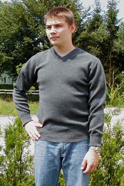Pullover, Bw grau V-Ausschnitt gebraucht/rep.