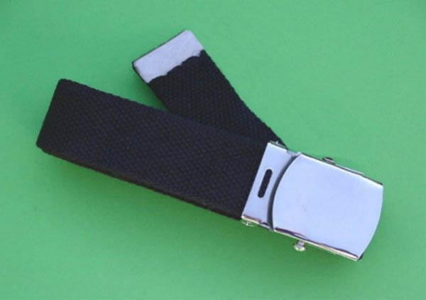 Stoffgürtel, US schwarz neu (Schnalle silber)