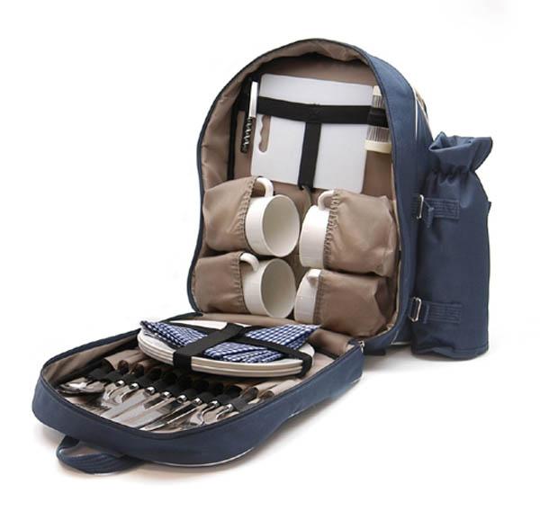 Picknick-Rucksack, mit Kunststoffgeschirr für 4 Personen, neu