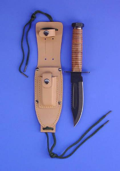 Marinekampfmesser, 5 - Klinge, Ledergriff neu