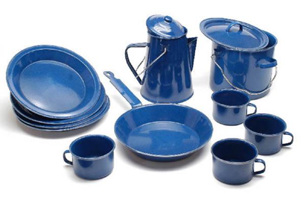 Koch-Set, Western, blau emailliert neu (13-tlg./4-Personen)