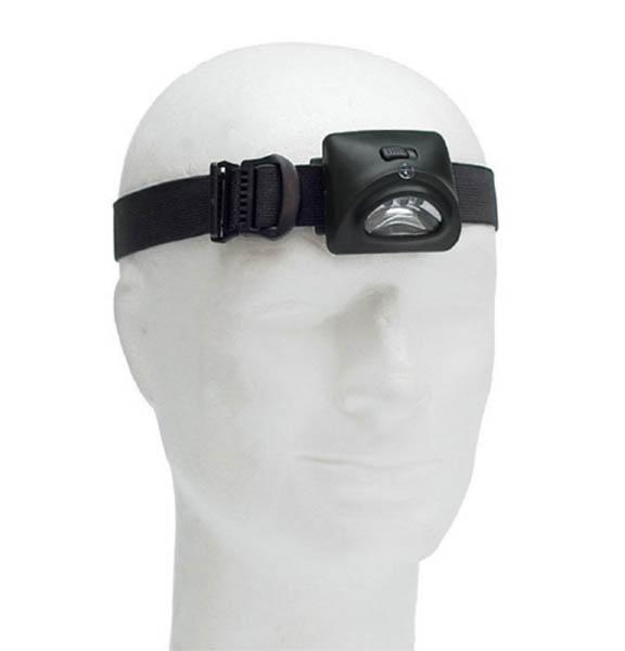 Stirnlampe 3 LED, dunkeloliv (für Batterien 3 x AAA)