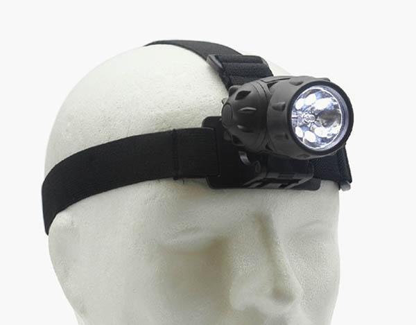 Stirnlampe 6 LED + 1 Krypton, schwarz (für Batterien 3 x AAA)