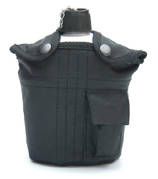 Feldflasche mit Trinkbecher, US ALU neu (Überzugfarbe: schwarz)