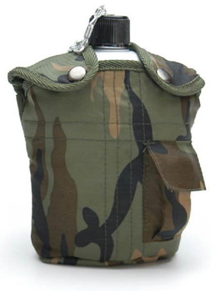 Feldflasche mit Trinkbecher, US ALU neu (Überzugfarbe: woodland)