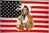 Flagge, U.S.A. mit Indianer neu