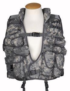 Tactical-Weste mit Lederbesatz,ACU digital-tarn neu