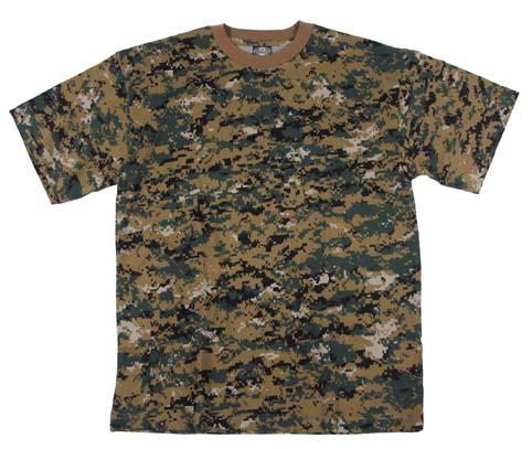 US T-Shirt, halbarm, digital- woodland, 170g/m²