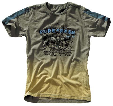 T-Shirt,Vintage, Applikation Pure Trash, blau-gelb