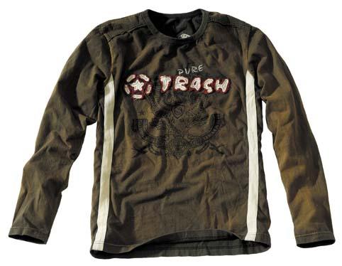 Shirt, Vintage, langarm, Pure Trash, oliv