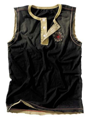 Achsel-Shirt,Vintage,schwarz Pure Trash, Knopfleiste