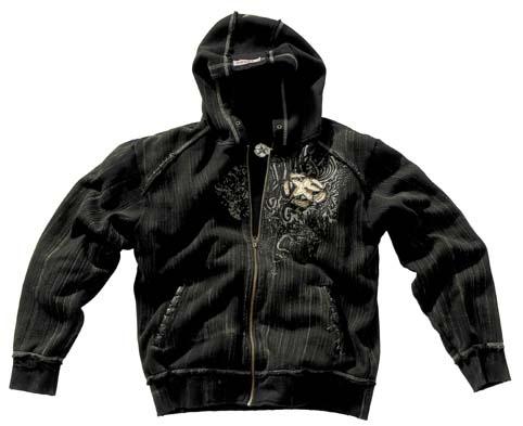 Kapuzen Sweatshirtjacke, Vintage, Pure Trash, schwarz