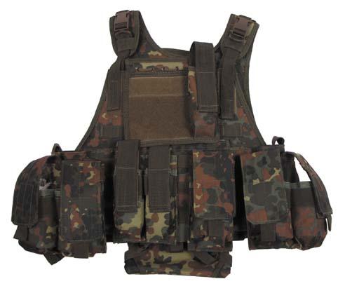 Weste, Ranger, div. Taschen, flecktarn, Modu. System, 5 Ta.