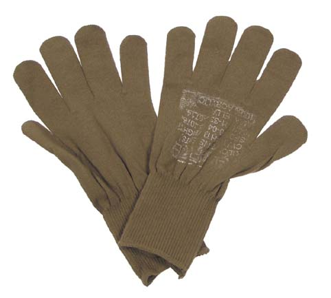 US Fingerhandschuhe, braun, Unterziehhandschuh, orig. USA