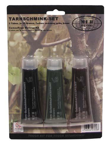 Tarnschmink-Set, 3 Farben, 3 Tuben je 35 Gr.