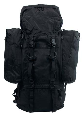 Rucksack, Alpin 110,schwarz, 2 abnehmbare Seitentaschen