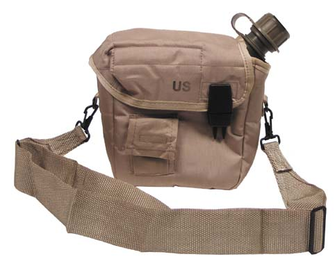 US Feldflasche, eckig, Coyote Tan, 2 Qt, mit Bezug