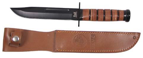 USMC Kampfmesser, Griff aus Lederringen, Lederscheide