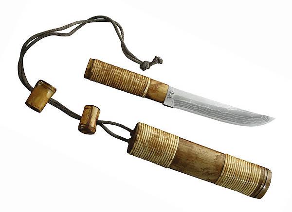 Japanisches Outdoormesser, 11 Lagen Damast, Weißer Papierstahl