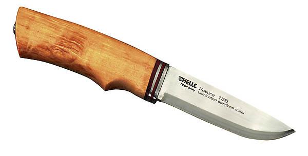 Helle Messer 155G, Dreilagenstahl, Birkenholz, braune Lederscheide