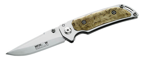 Marttiini Einhandmesser, MFK-3W, Stahl 420, Birkenholz, Lederscheide, Geschenkbox, Heftlänge 12 cm