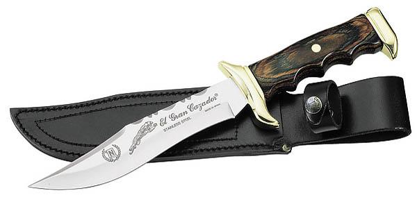 Nieto Messer, rostfreier Stahl, Pakkaholz, Messingbeschläge