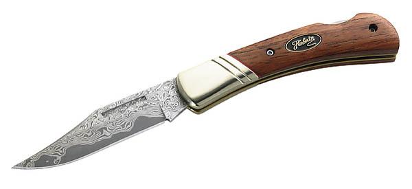 Herbertz Einhandmesser, 35 Lagen Damast, Stahl 440, Cocobolo-Holz, Neusilberbacken