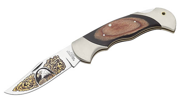 Herbertz-Taschenmesser, Stahl 440 A, Pakkaholz, Neusilber, goldgeätztes Adlermotiv